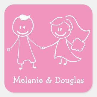 Boda personalizado rosa de la novia y del novio pegatina cuadrada