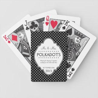 Boda punteado polca del aniversario personalizado baraja de cartas bicycle