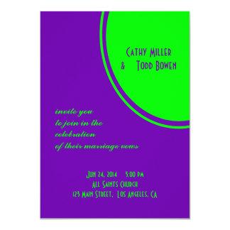 boda púrpura brillante del círculo de la MOD del Invitación 11,4 X 15,8 Cm