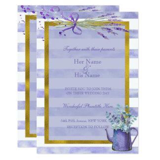 Boda púrpura de la flor de la lavanda de Provence Invitación 12,7 X 17,8 Cm