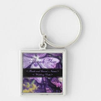 Boda púrpura del ejemplo de la flor llavero cuadrado plateado