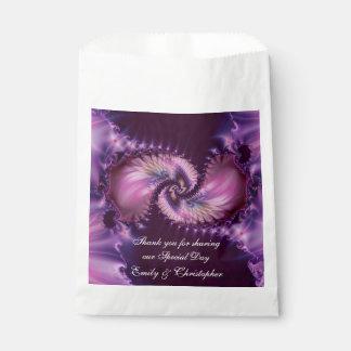 Boda púrpura del fractal de la pluma bolsa de papel