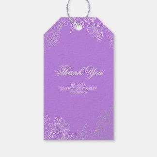 Boda púrpura elegante del vintage floral de plata etiquetas para regalos