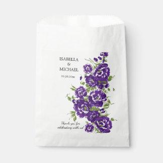 Boda púrpura encantador de la flor bolsa de papel