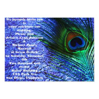 Boda púrpura perfecto del pavo real invitación 12,7 x 17,8 cm