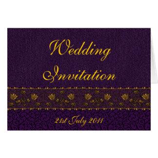 Boda púrpura rico tarjeta de felicitación