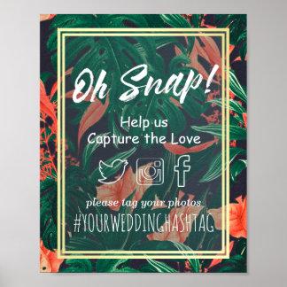 Boda rápido floral tropical de Hashtag del marco Póster