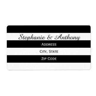 Boda rayado blanco y negro etiquetas de envío