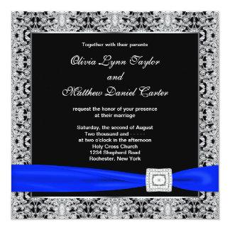 Boda real del cordón de la plata del negro azul invitación 13,3 cm x 13,3cm
