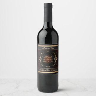 Boda real del Flourish de Borgoña y del oro Etiqueta Para Botella De Vino
