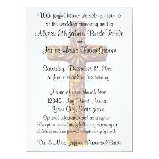 Boda religioso cruzado del oro invitación 16,5 x 22,2 cm