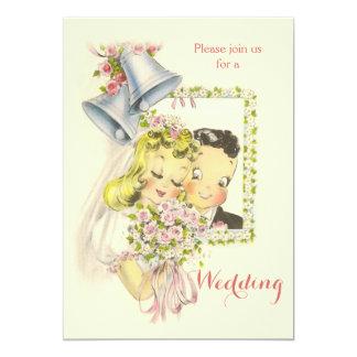 Boda retro caprichoso de novia y del novio invitación 12,7 x 17,8 cm
