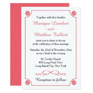 Boda retro floral de la flor rosada y blanca invitación 12,7 x 17,8 cm