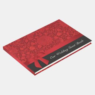 Boda rojo del brocado libro de visitas