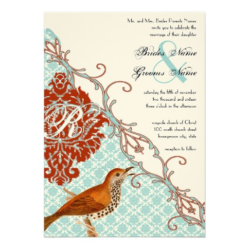 Boda rojo del damasco de la endibia de los pájaros anuncios