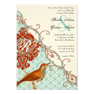 Boda rojo del damasco de la endibia de los pájaros invitación 12,7 x 17,8 cm