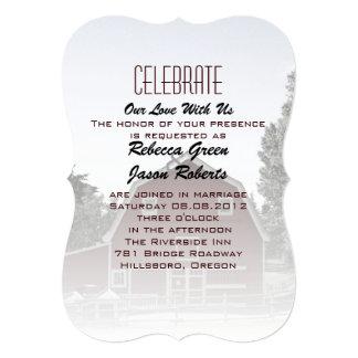boda rojo del granero del país de la granja invitación 12,7 x 17,8 cm