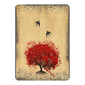 Boda rojo del pájaro del amor del árbol de la hoja anuncio