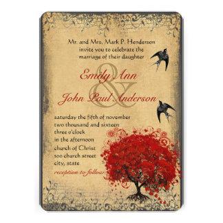 Boda rojo del pájaro del amor del árbol de la hoja
