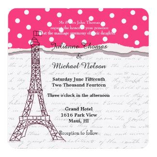 Boda romántico de París Invitación 13,3 Cm X 13,3cm