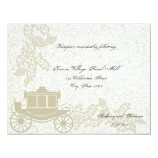 Boda romántico del carro invitación 10,8 x 13,9 cm