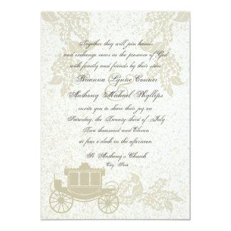 Boda romántico del carro invitación 12,7 x 17,8 cm