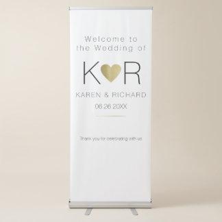boda romántico simple y básico pancartas retráctiles
