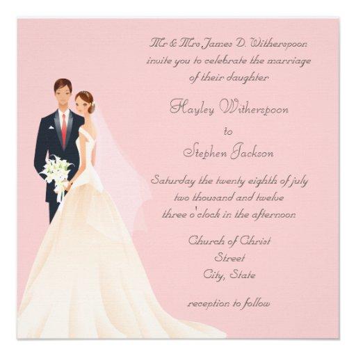 Boda rosado de la novia y del novio, de la iglesia comunicados personales
