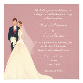 Boda rosado de la novia y del novio, de la iglesia invitacion personalizada
