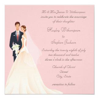 Boda rosado de la novia y del novio, de la iglesia invitación 13,3 cm x 13,3cm