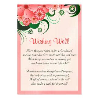 Boda rosado floral del hibisco que desea tarjetas tarjetas de visita grandes