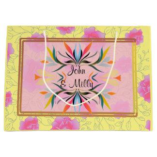 Boda rosado moderno del monograma del estampado de bolsa de regalo grande