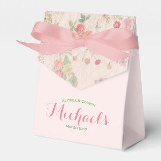 Boda rosado romántico floral del vintage elegante caja de regalos