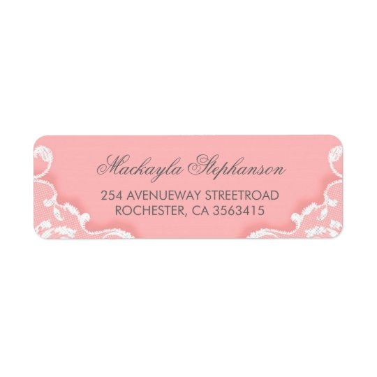 Boda rosado y blanco del cordón etiquetas de remite