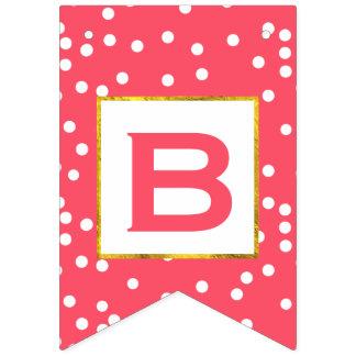 Boda rosado y blanco personalizado del accesorio banderines