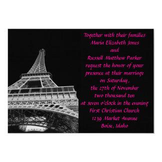 Boda rosado y negro de la torre Eiffel Invitación 12,7 X 17,8 Cm