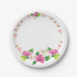 Boda rosado y púrpura de la acuarela floral de la plato de papel