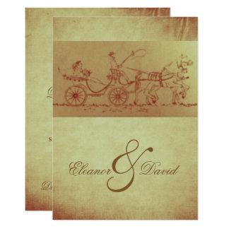Boda rústico de la apariencia vintage del caballo invitación 12,7 x 17,8 cm