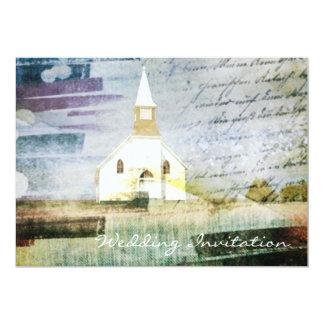 boda rústico de la capilla del país del vintage invitación 12,7 x 17,8 cm