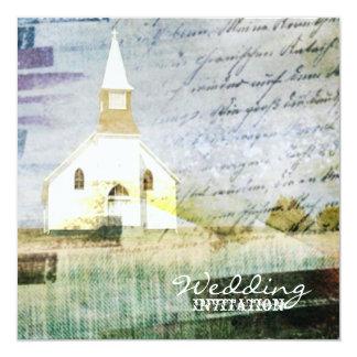 boda rústico de la capilla del país del vintage invitación 13,3 cm x 13,3cm