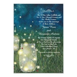 Boda rústico de la luciérnaga del tarro de albañil invitación 12,7 x 17,8 cm