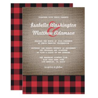 Boda rústico de la tela escocesa y de la arpillera invitación 12,7 x 17,8 cm