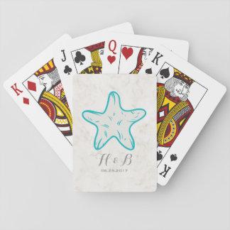 Boda rústico de las estrellas de mar de la barajas de cartas