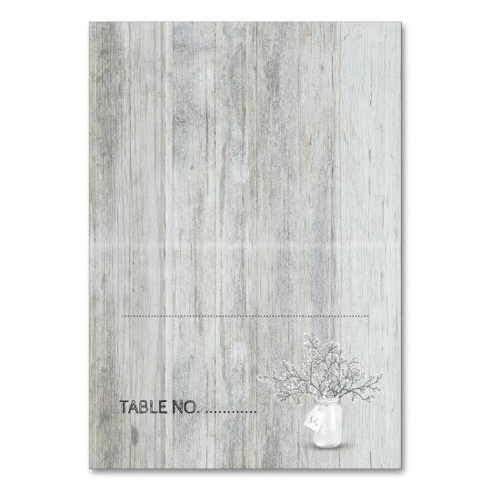 Boda rústico de madera del tarro de albañil y de tarjeta