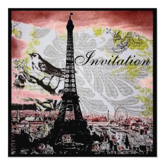 boda rústico de París de la torre Eiffel del Invitación 13,3 Cm X 13,3cm
