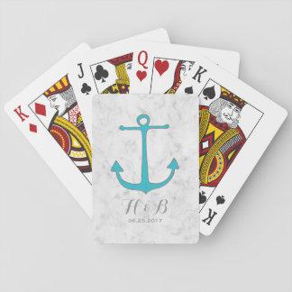 Boda rústico del ancla de la turquesa barajas de cartas