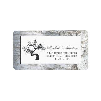 Boda rústico del árbol de abedul de plata etiqueta de dirección