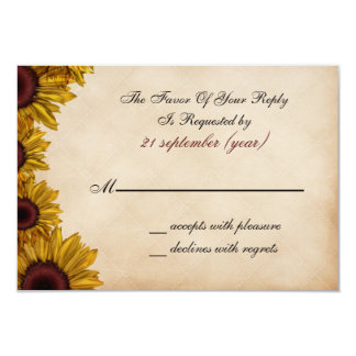 Boda rústico del girasol invitación 8,9 x 12,7 cm