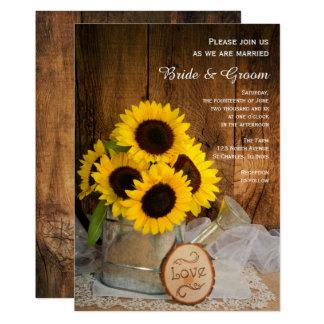 Boda rústico del girasol y de la regadera del invitación 12,7 x 17,8 cm