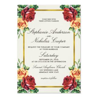 Boda rústico del marco de la hoja de oro de la invitación 12,7 x 17,8 cm
